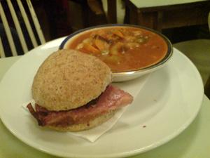 Half soup, half sandwich: €6.40 at Gruel