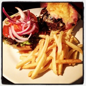 The Marble City Bar's burger